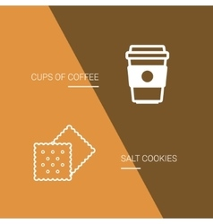 Coffee and cookie icon on brown background vector