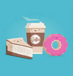 Coffee cheesecake and donut vector