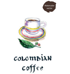 cup of colombian coffee with coffee beans and leaf vector image