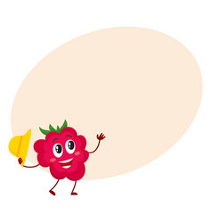 Cute and funny comic style raspberry character vector