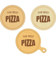 Empty round cutting boards with pizza restaurant vector