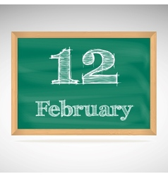 February 12 inscription in chalk on a blackboard vector
