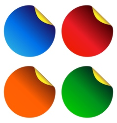 Four multicolored stickers isolated on white vector image vector image