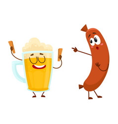 Funny beer glass and frankfurter sausage vector