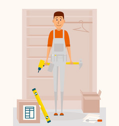 furniture assembly service man cartoon vector image