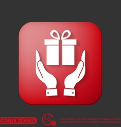 hand holding a Holiday Gift Box Icon vector image