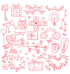 happy valentines day and weeding design elements vector image