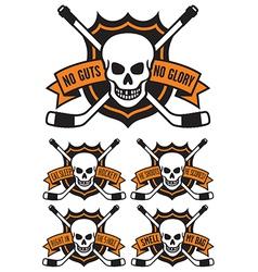 Hockey emblem with skull and crossed hockey sticks vector