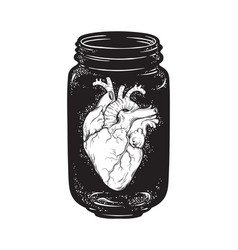human heart in glass jar isolated print design vector image vector image