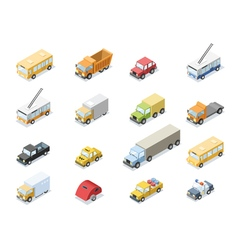 Isometric set of city transport car icons vector
