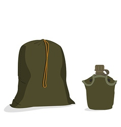 Military sack and canteen vector