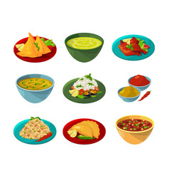pictures of indian national cuisine vector image vector image