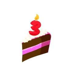 Piece of cake with candle number three icon vector image