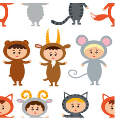 seamless pattern with little kids in their animal vector image vector image
