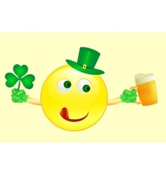 smile icon on Saint Patricks Day vector image