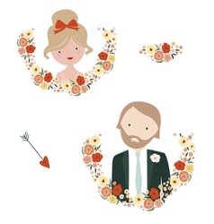 Wedding designs with groom and bride characters vector image