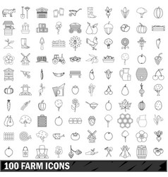 100 farm icons set outline style vector