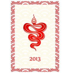 Snake new year card vector