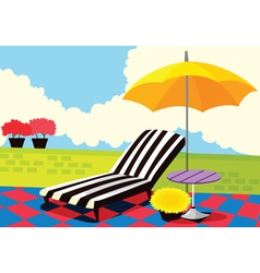 Relaxing chair and umbrella vector