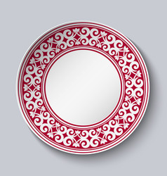 ornamental dish with red pattern in the style of vector image