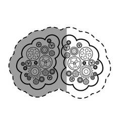 Brain human with gears creative icon vector