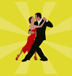 Tango dancing couple man and woman vector
