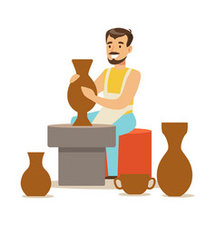 Young man potter making ceramic pot craft hobby vector