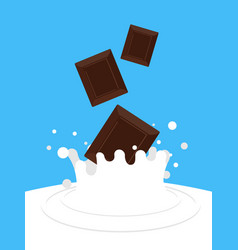 Chocolate falling in milk white spray sweet dairy vector