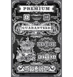 Vintage hand drawn graphic labels on blackboard vector