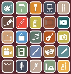 Art flat icons on red background vector