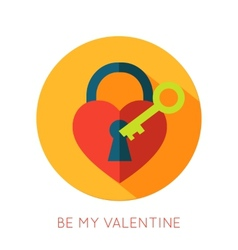 Valentines day flat isolated icon be my valentine vector