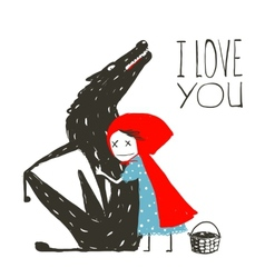 Little red riding hood loves black wolf vector