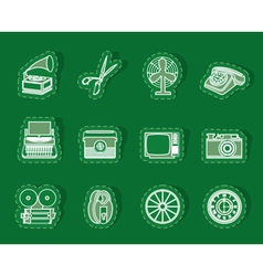 Retro business and office object icons vector