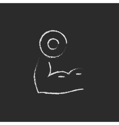 Arm with dumbbell icon drawn in chalk vector