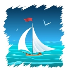 The floating sailboat vector
