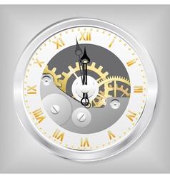 clock-skeleton with golden figures vector image