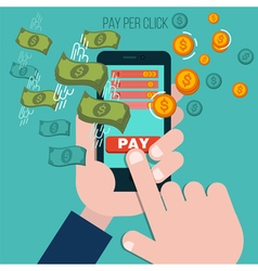 Pay per click mobile advertising concept vector