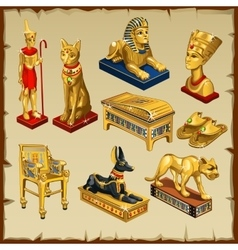 Egyptian set statues made of gold eight items vector