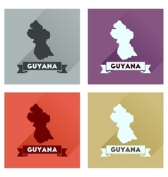 Concept flat icons with long shadow guyana map vector