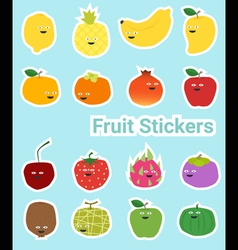 Set of funny fruit stickers vector