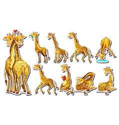Sticker set with happy giraffe vector