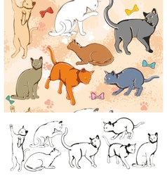 Seamless parttern Cats vector image