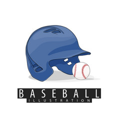 baseball helmet and ball on white background vector image vector image