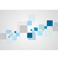 Blue squares minimal tech brochure design vector