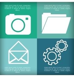 Camera envelope file gears apps design vector