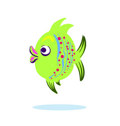 Cartoon character mascot cute fish isolated on vector