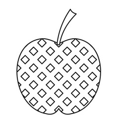 checkered apple icon outline style vector image vector image
