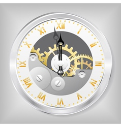 clock-skeleton with golden figures vector image