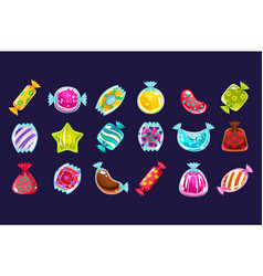 Collection of various colorful candies in glossy vector