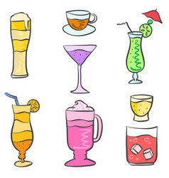 Collection stock drink style doodle set vector